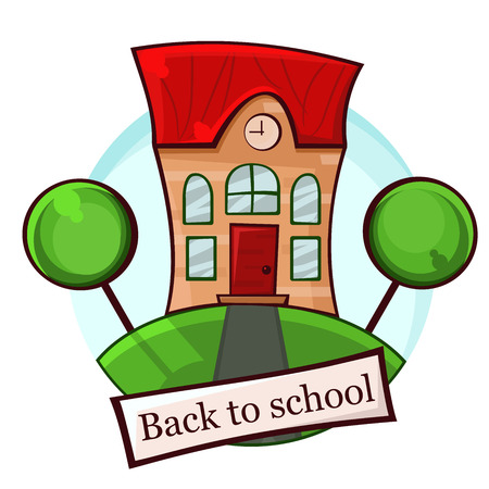 the school building with a red roof and Windows, banner back to school vector illustration