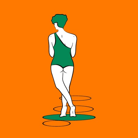 postcard: the girl turned back is in the summer on the beach in a green swimsuit, vector illustration
