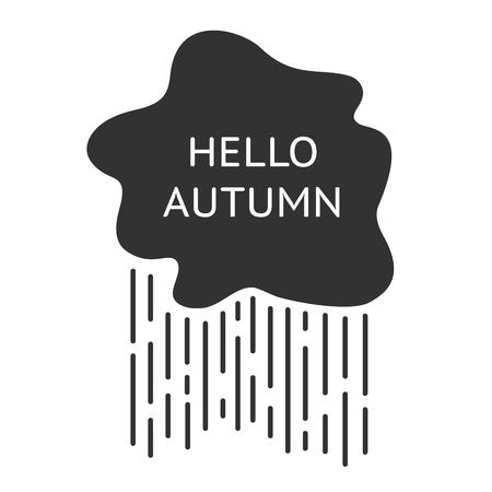 Hello autumn icon, vector Weather black icon, autumn rain icon on the white background 일러스트