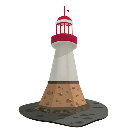 searchlight: Searchlight towers for maritime navigational guidance, vector illustration, of a stone lighthouse on the island Illustration
