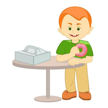 boy holding a donut, box of donuts on the table, boy stands at a table, vector illustration