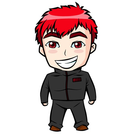 red haired person: Red hair boy. Illustration