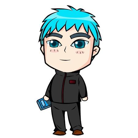 inquiring: Blue hair boy. Illustration