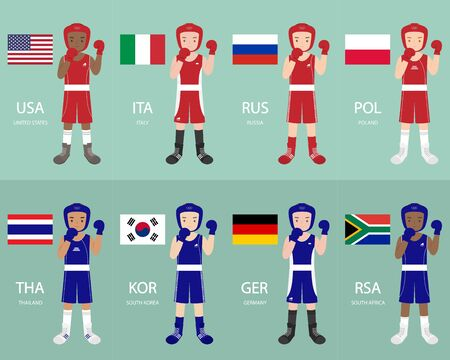 defeated: boxers from different countries