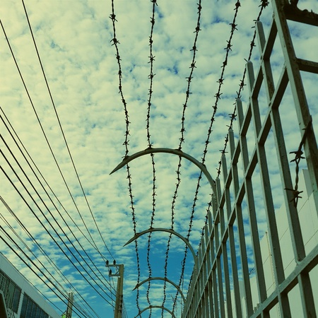 grid: Barbed wire Stock Photo