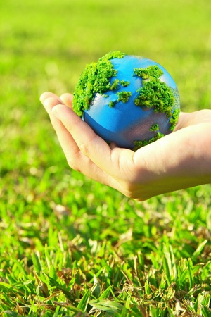 eco energy: earth in hand  Stock Photo