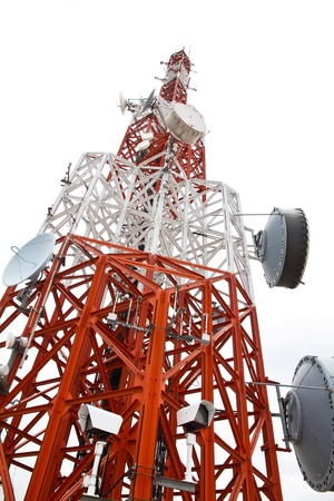 mobile communication: Communications Tower isolate on white background
