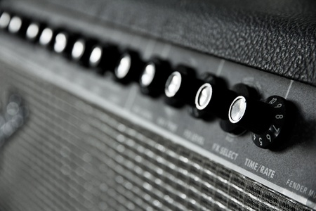 close up image of guitar amplifier  Stock Photo