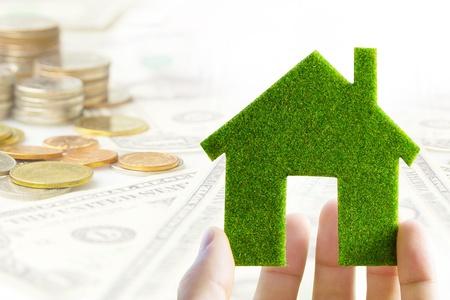economize: eco house icon energy concept