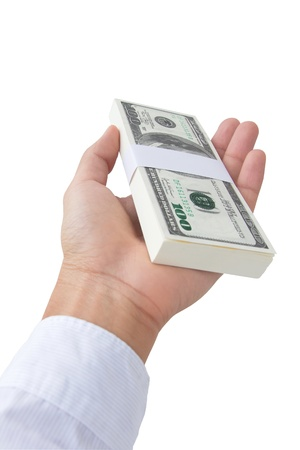 give money: Hand giving money  Stock Photo