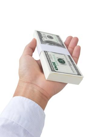 man holding money: Hand giving money  Stock Photo