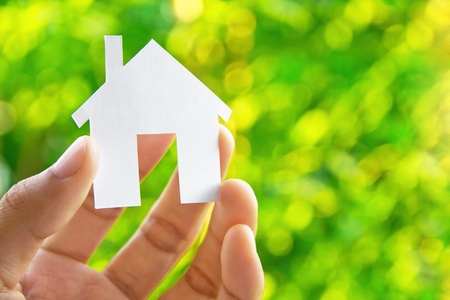 small house: Hand Holding Icon House  Stock Photo