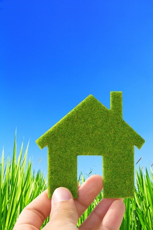 mano que sostiene la casa ecológica concepto de icono Foto de archivo