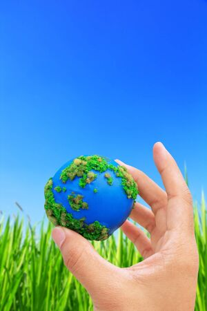 Hands and Earth. Concept Save green planet.  photo