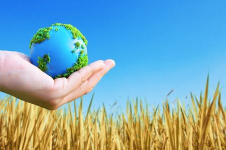 mapas conceptuales: Las manos y la Tierra. Concepto de salvar el planeta verde.