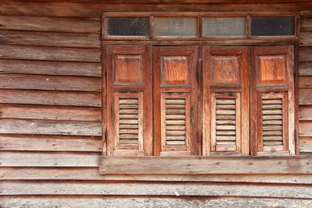 disused: The form of a old window, traditional Thai house style Stock Photo
