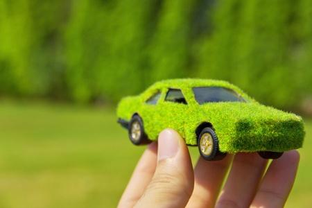 Hand Holding Eco car icon concept photo