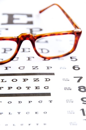 optometry concept, close up at eye chart  Stock Photo