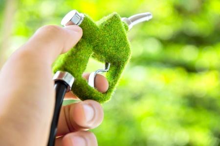 nozzle: hand holding eco fuel nozzle Stock Photo