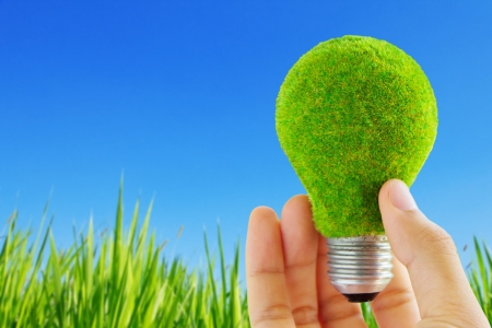 light blub in hand, eco energy concept Stock Photo