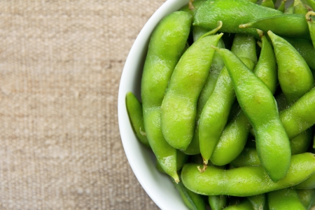 close up of Edamame soy beans photo