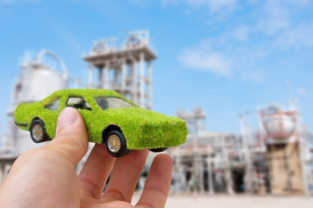 eco car: Hand Holding Eco car icon ,save energy concept Stock Photo