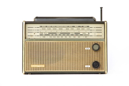 transistor: Vintage Radio isolated on white background  Stock Photo