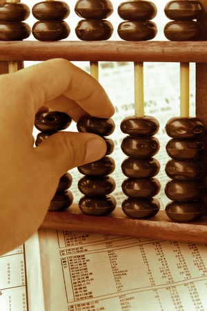 hand hold abacus  photo