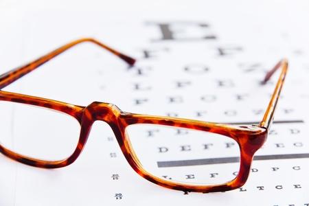 optometrie concept, close-up op een bril Stockfoto