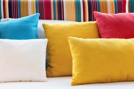 design objects: close up image of colorful pillow
