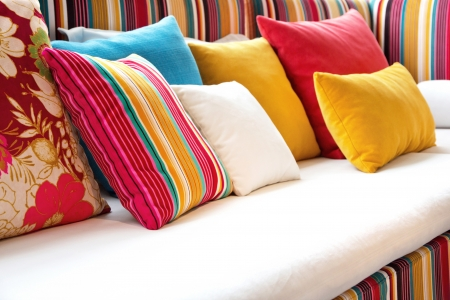 bedroom interior: colorful pillow
