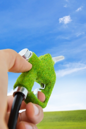 fuel: hand holding eco fuel nozzle,energy concept