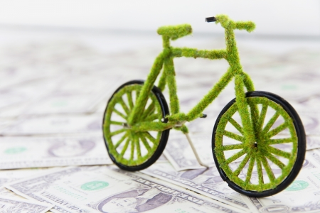 Eco fiets pictogram, opslaan energieconcept