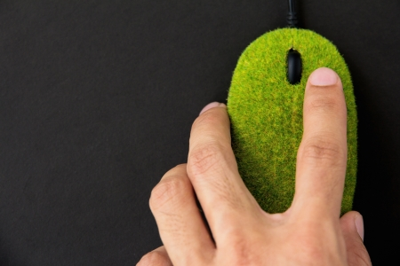 hand holding Eco computer mouse  Stock Photo