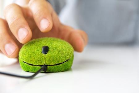 hand die groene computer muis Stockfoto