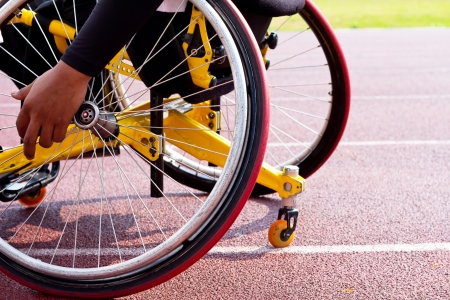 disabled sports: wheelchair sportsmen at race track