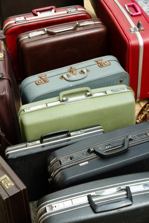 abroad: Pile of old vintage bag suitcases Stock Photo