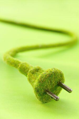 electric plug: green electric plug , save energy concept