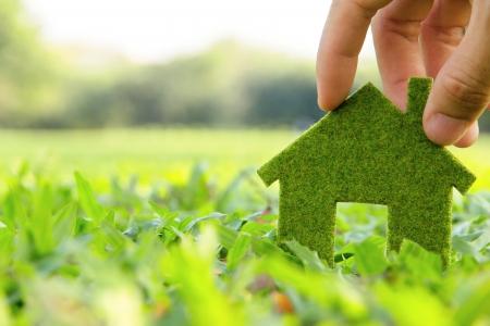 casa ecológica concepto de icono Foto de archivo