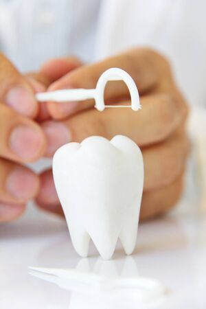 flossing: dentist holding dental floss with molar, flossing teeth concept Stock Photo