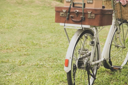 Vintage bicycle on the field  photo