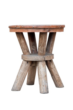 Old wooden stool isolated on white background