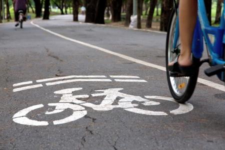 bicycle lane: Bike lane concept Stock Photo