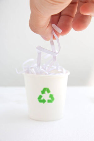 shredding: hand drop shredded paper into the recycle bin