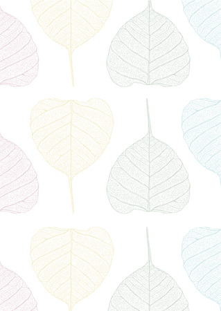 pastel pipal leaves pattern  Illustration