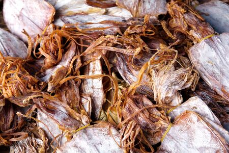 Dried squid closeup photo