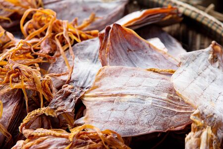 Dried squid in local market photo