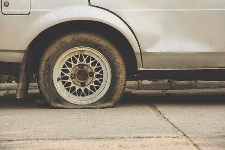 flat tire: Flat tire Stock Photo