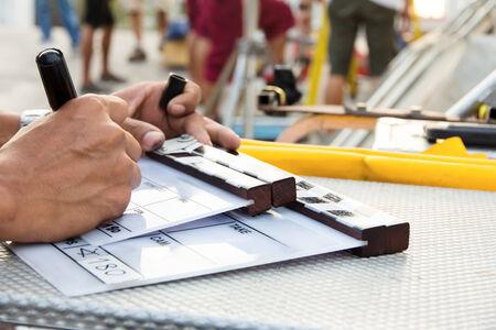 Labeling the Slate on set Standard-Bild