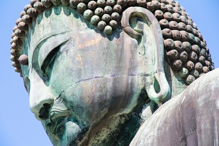 kamakura: Great Buddha of Kamakura - face close up